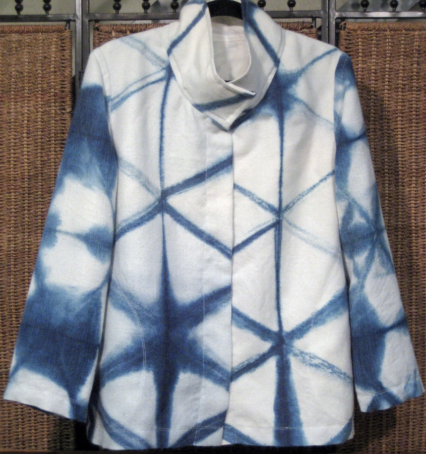 Indigo Shibori Jacket: Handwoven and Dyed