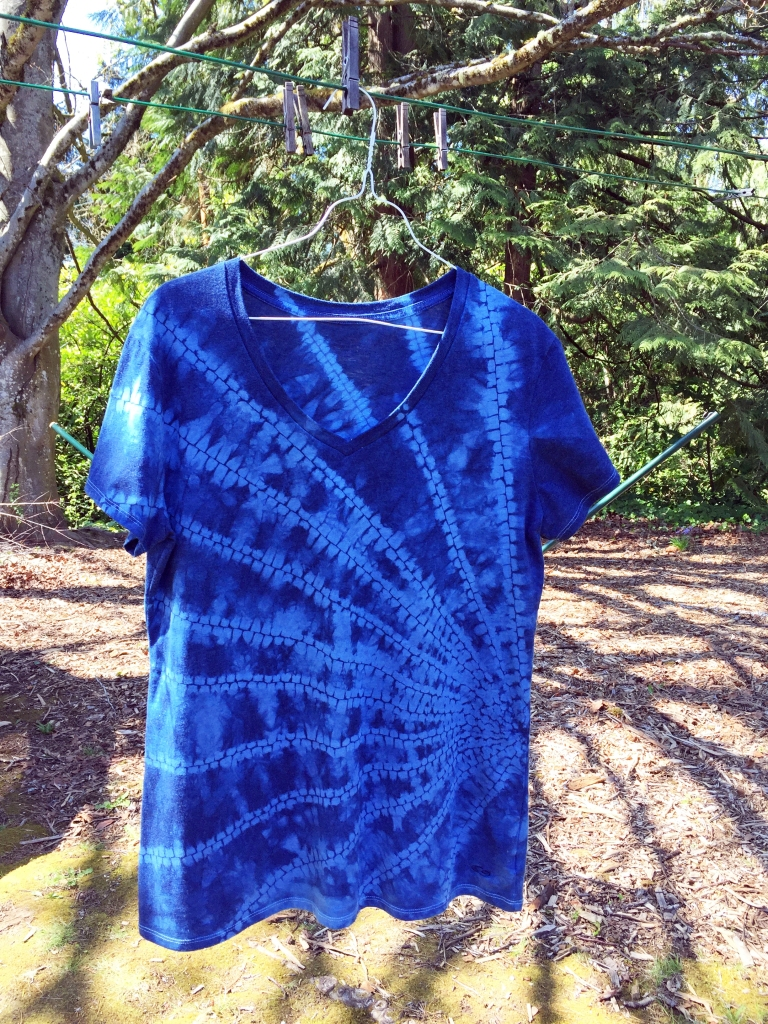 Previous stitch resist project, overdyed and darkened.